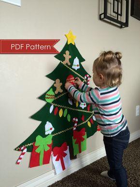 Felt Christmas Tree DIGITAL PATTERN - No Sew DIY Printable pdf - Large Tree 3 Feet Tall - Kids Decorate Toy Activity - Preschool Holiday Fun