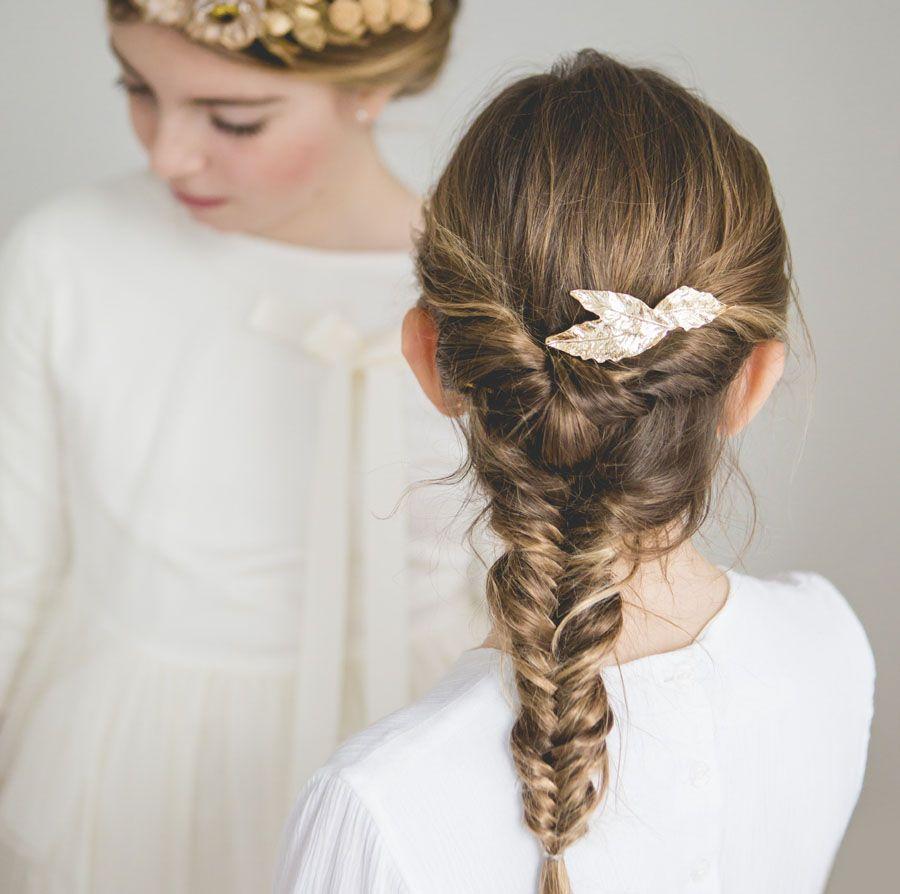 Miradas ganadoras con peinados de comunion con trenzas Colección De Tutoriales De Color De Pelo - Trenza de espiga con pasador de hojas oro. Peinados niña ...