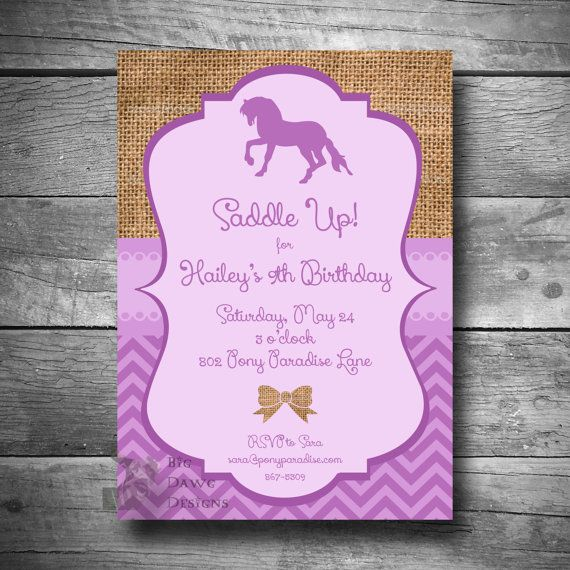 Horseback Riding Invitation Pony Party Invitation DIY Horse