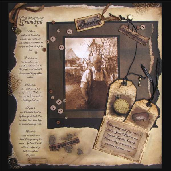A Walk With Grandpa Heritage Scrapbook Pages Vintage Scrapbook Heritage Scrapbooking Layouts