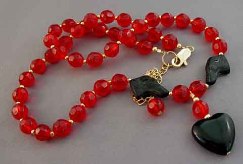 Black Dog Necklace Red Crystal Gold Rescue Jewelry#rescuejewelry #dogjewelry #blackdognecklace