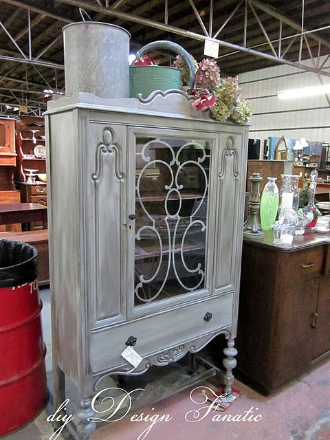 antique china cabinet/ love this color and technique