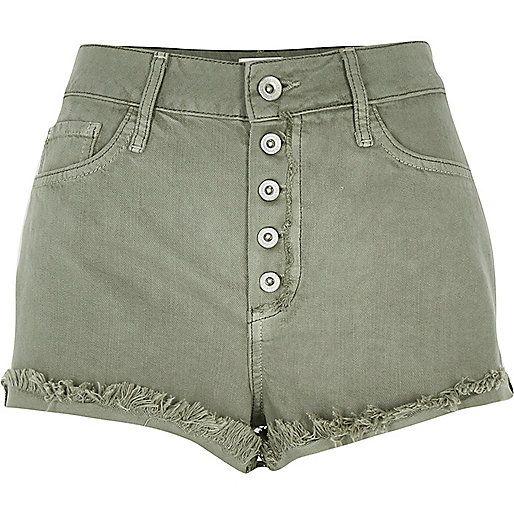 Green high waisted denim shorts | spring/summer apparel ...