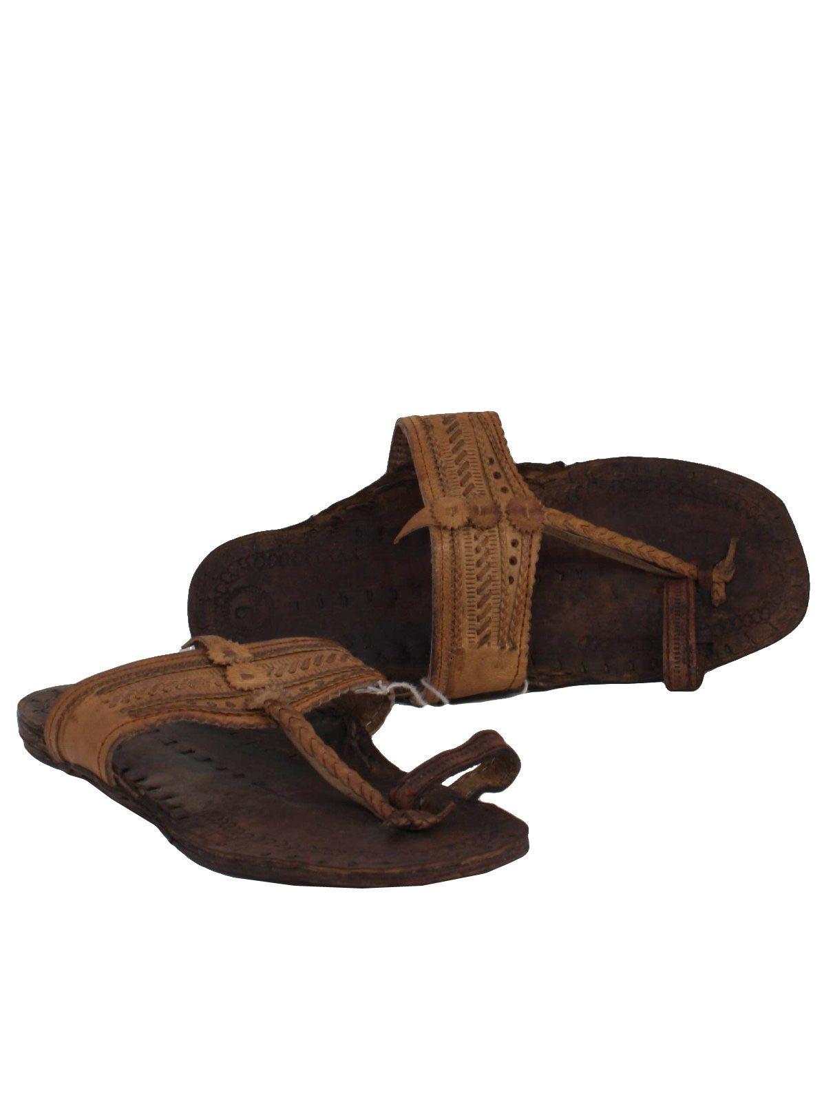 5355a02a105d2 1970's Unisex Unisex Leather Hippie Jesus Sandal Shoes | Growing up ...