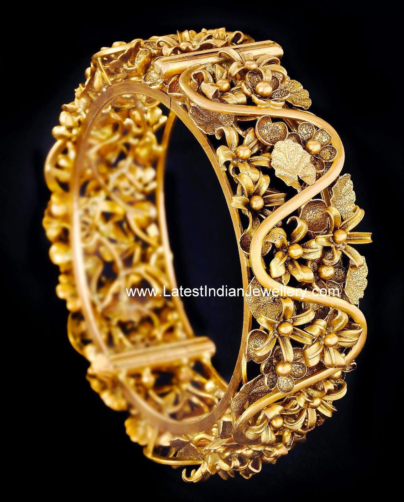 Top 25 Indian Antique Jewellery Designs For Women: Gold Bangle Inspired By Garden