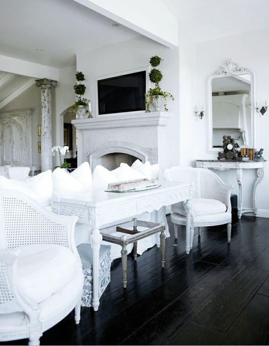 dark hardwood floors white interior design White House Pinterest