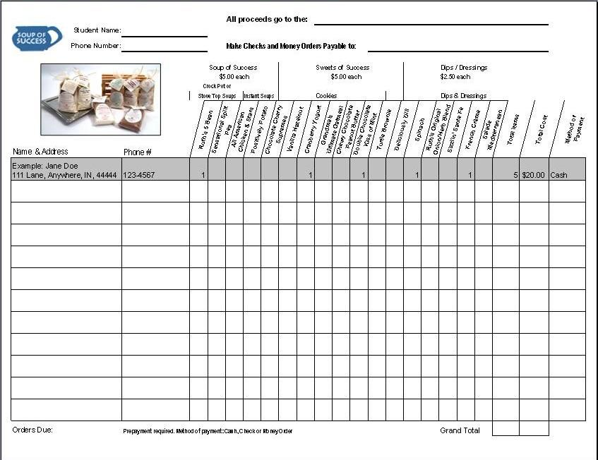 Fundraiser Order Form Fundraiser form ideas Order form template