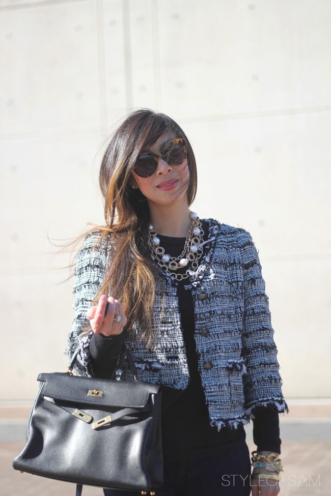 Interview Outfit Chanel Jacket Love The Black Long Sleeve Shirt