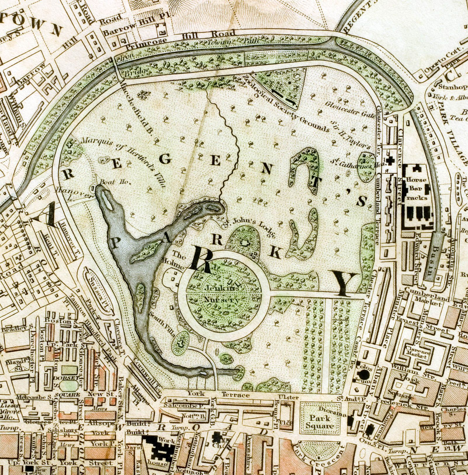 london parks the regents park section of improved map of london for from actual survey engraved by w