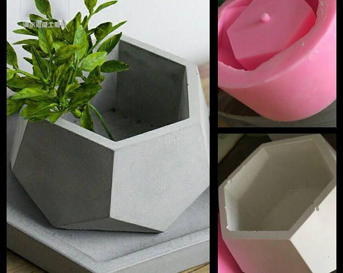 Hexagone Jardiniere En Beton En Silicone Moule A La Main Artisanat