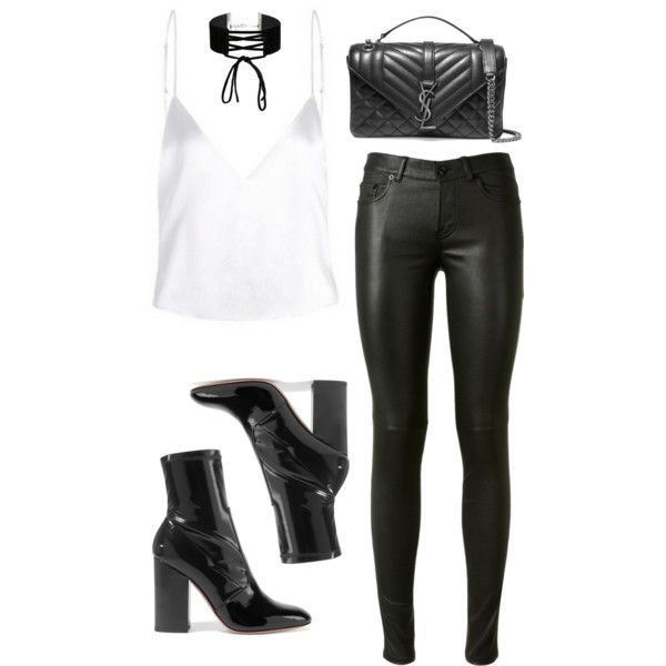A fashion look from October 2016 featuring Yves Saint Laurent pants, Valentino ankle booties and Yves Saint Laurent shoulder bags. Browse and shop related look…