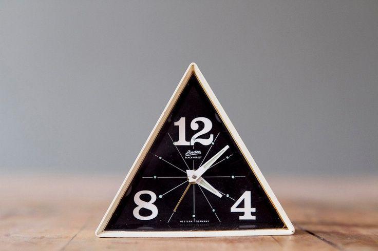 Rare Vintage Linden Black Forest Geometric Alarm Clock