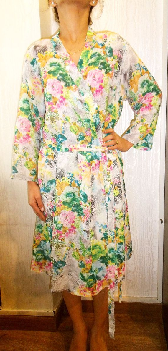 Floral printed bath robe in swiss cotton  cross by pinkkcloset