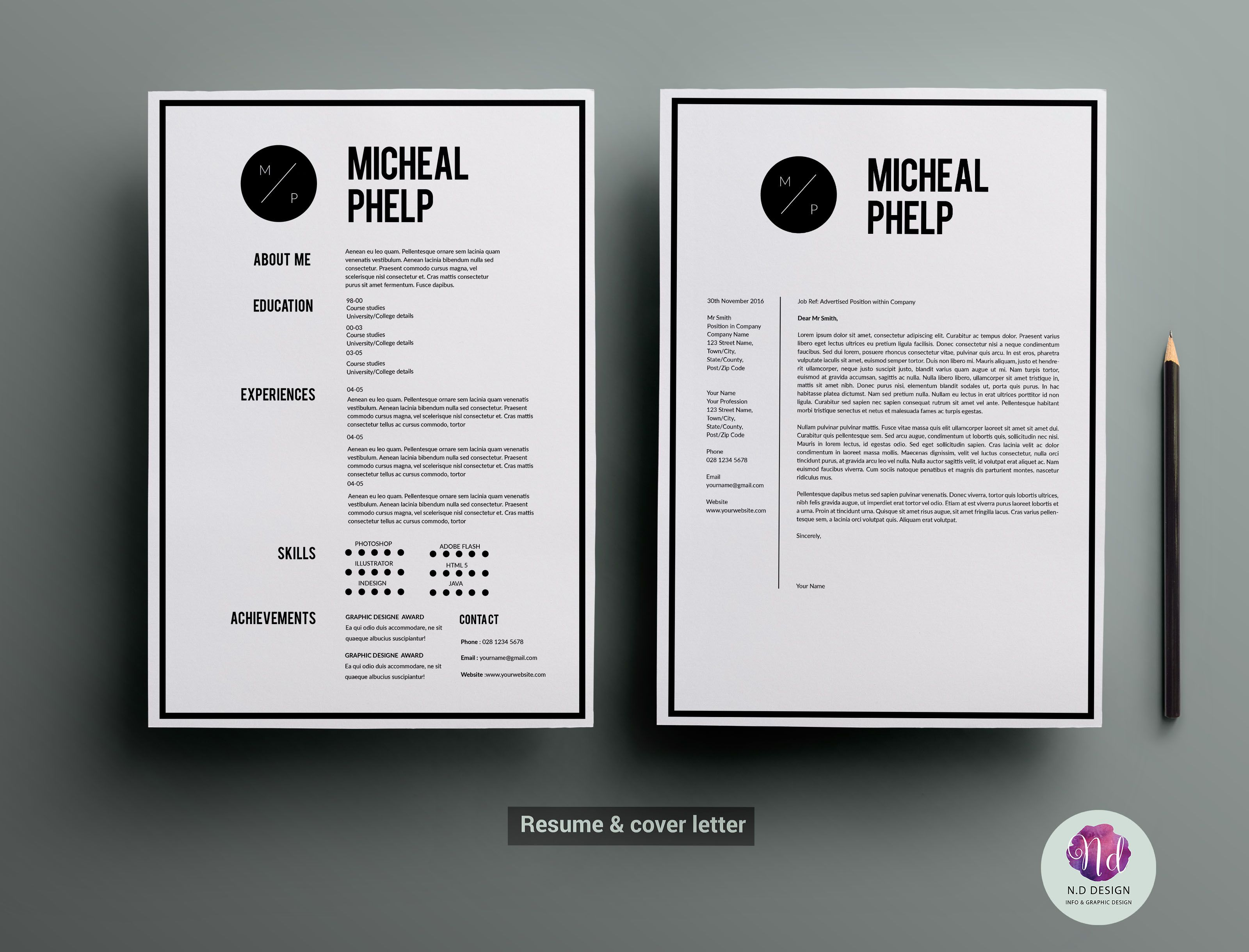 CV template , cover letter template by Chic templates on Creative ...