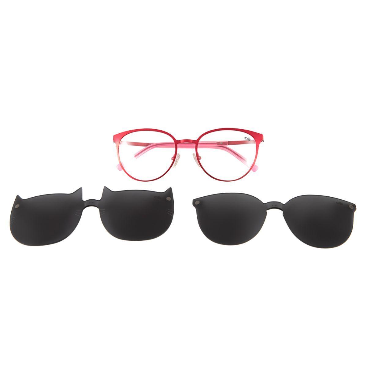 7c8d8e46d Armação para Óculos de Grau Chilli Beans Multi 2 em 1 Gatinho Vermelho 0161  - Chilli