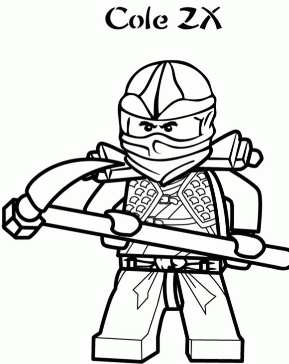 cole the black ninja of lego ninjago coloring page for kids