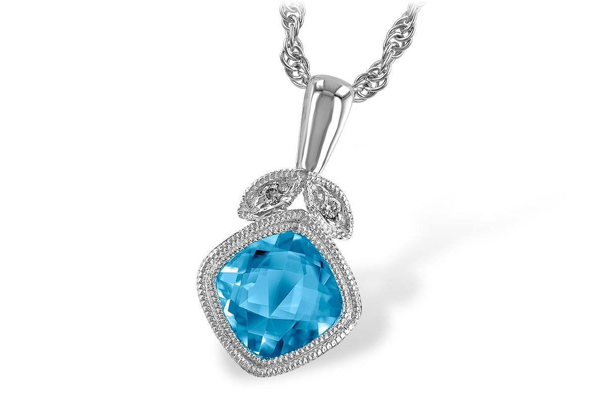 1.05 Ct Round London Blue Topaz 14K White Gold Pendant With Chain