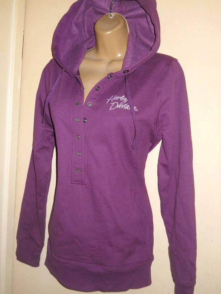 HARLEY DAVIDSON Purple Hoodie Angel Wings Sweatshirt Snap Front size Medium NEW #HarleyDavidson #Hoodie