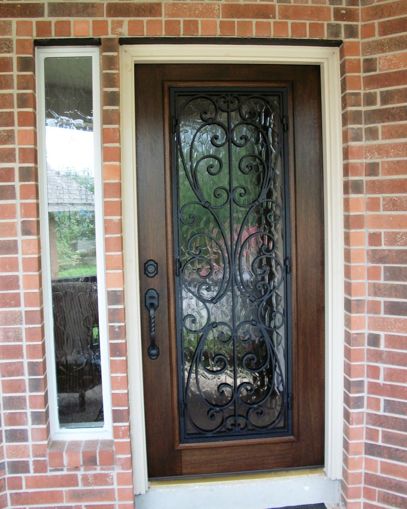 Wood And Wrought Iron Door Milan Full Lite Mahogany With Flemish Glass