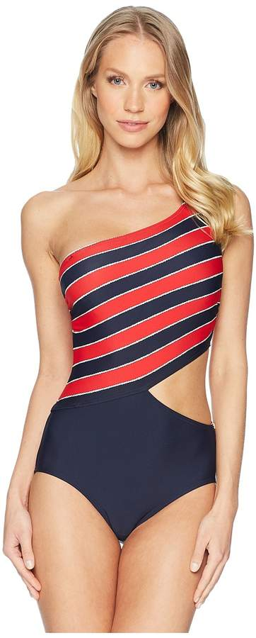 6ef531278e6 MICHAEL Michael Kors Rope Rugby Stripe One Shoulder Cut Out One-Piece  Swimsuit w/ Zipper Removable Soft Cups Women's Swimsuits One Piece