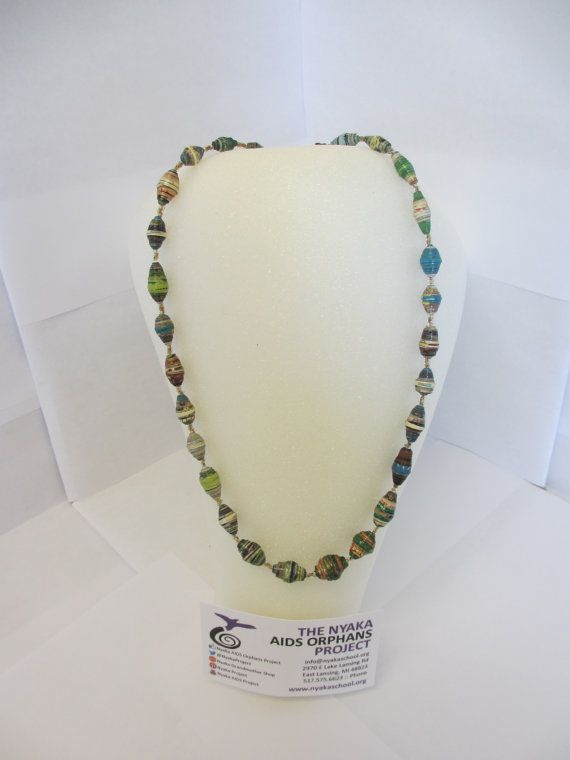 Looking for a unique meaningful gift, head over to the NyakaGrandmotherShop on Etsy! We have added some beautiful upcycled magazine paper bead necklaces, take a peek!