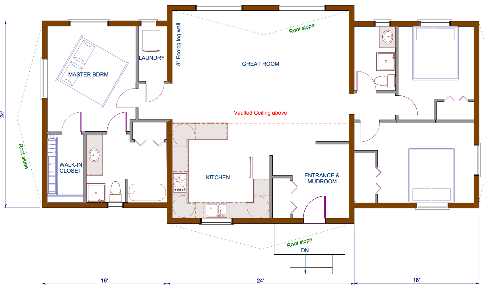 floor plan 1440 sqft wing shaped single level log home rancherbungalow style - House Plans With Mudrooms