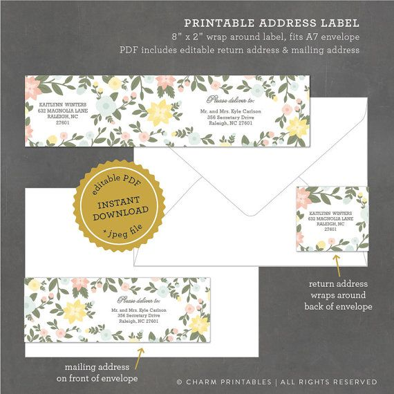 Printable Floral Address Label Printable Address Label Template - Wedding invitation templates: wedding address label template