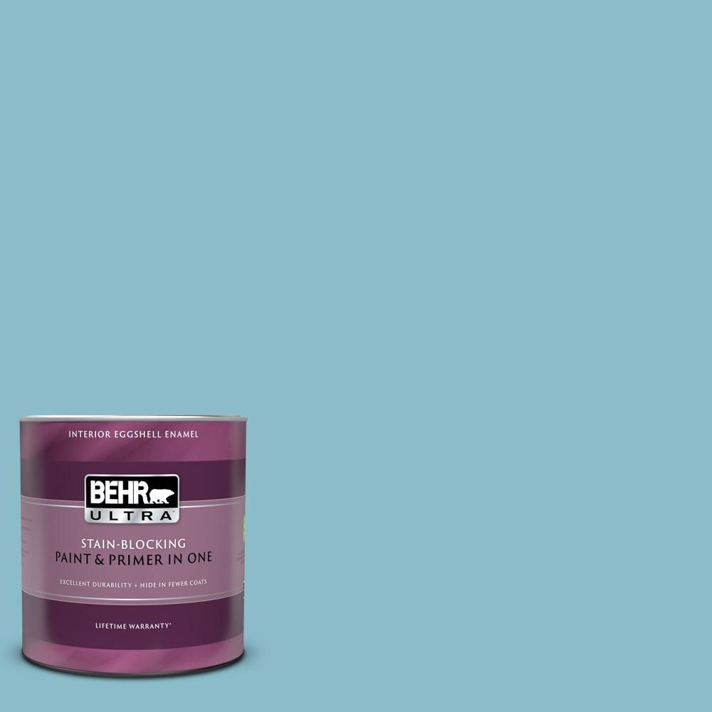 Behr Ultra 1 Qt S460 3 Blue Echo Eggshell Enamel Interior Paint And Primer In One In 2020 Behr Premium Plus Interior Paint Behr
