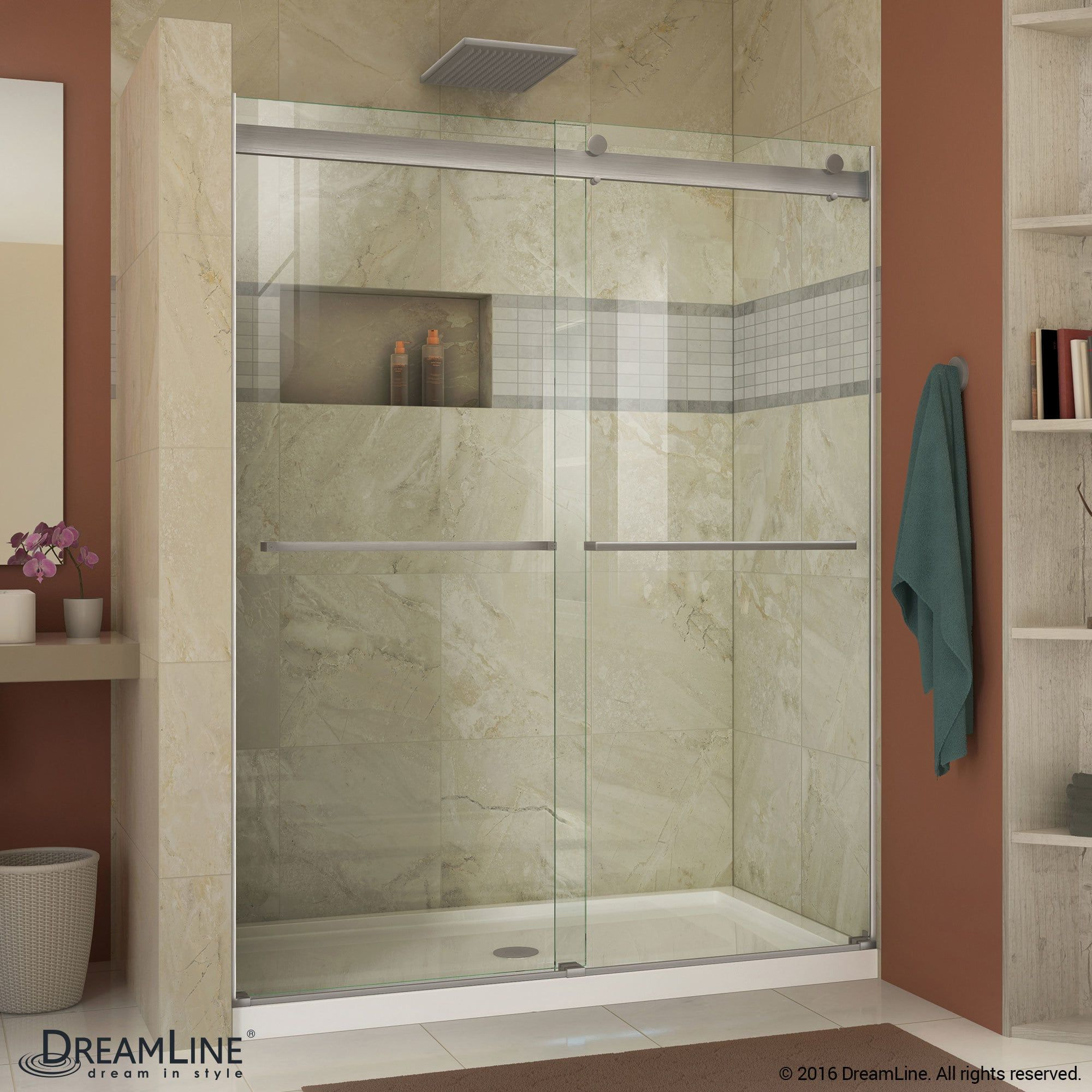 Dreamline Essence 44 48 In W X 76 In H Frameless Bypass Shower
