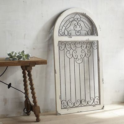 White Antiqued Arch Wall Decor Spanish Style Wooden Frames And Wrought Iron