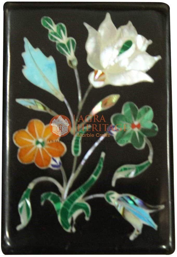 Marble Jewelry Box Inlay Art Malachite Semi Precious Stone Pietra Dura Handmade Home Decor