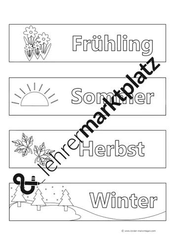 Jahreszeiten Malvorlagen Und Titelblatter Unterrichtsmaterial In Den Fachern Fachubergreifendes Kunst Jahreszeiten Vorlagen Titelblatt