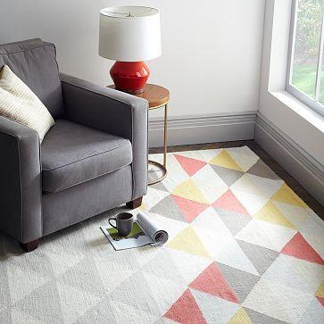 Sarah Campbell Mosaic Triangles Wool Dhurrie - Horizon #westelm