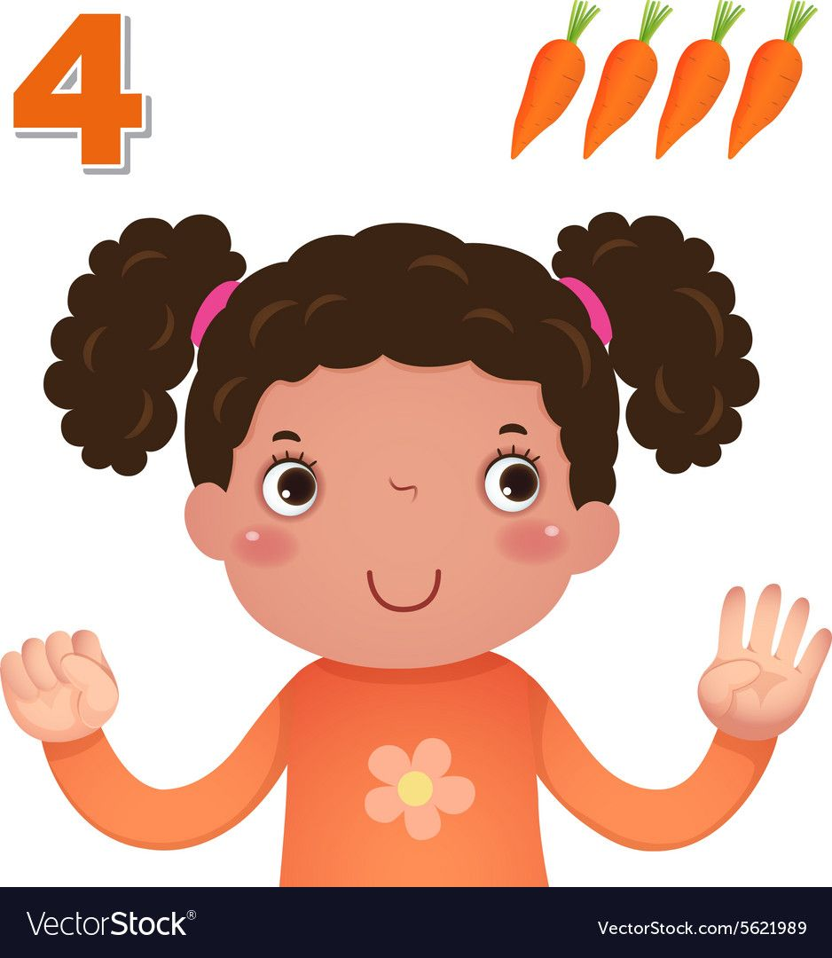 Learn Number And Counting With Kids Hand Showing The Number Four Download A Free Preview Or High Quality Adobe Math For Kids Kids Vector Alphabet And Numbers