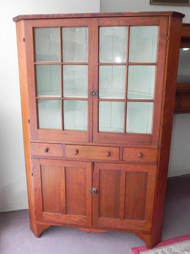 a3686b8dd12c Early Antique Cherry 3 Corner Cabinet Cupboard Original 12 Pane Glass Doors
