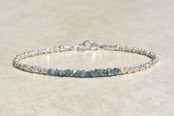 Blue Diamond Bracelet Genuine Raw Rough Diamond Bracelet