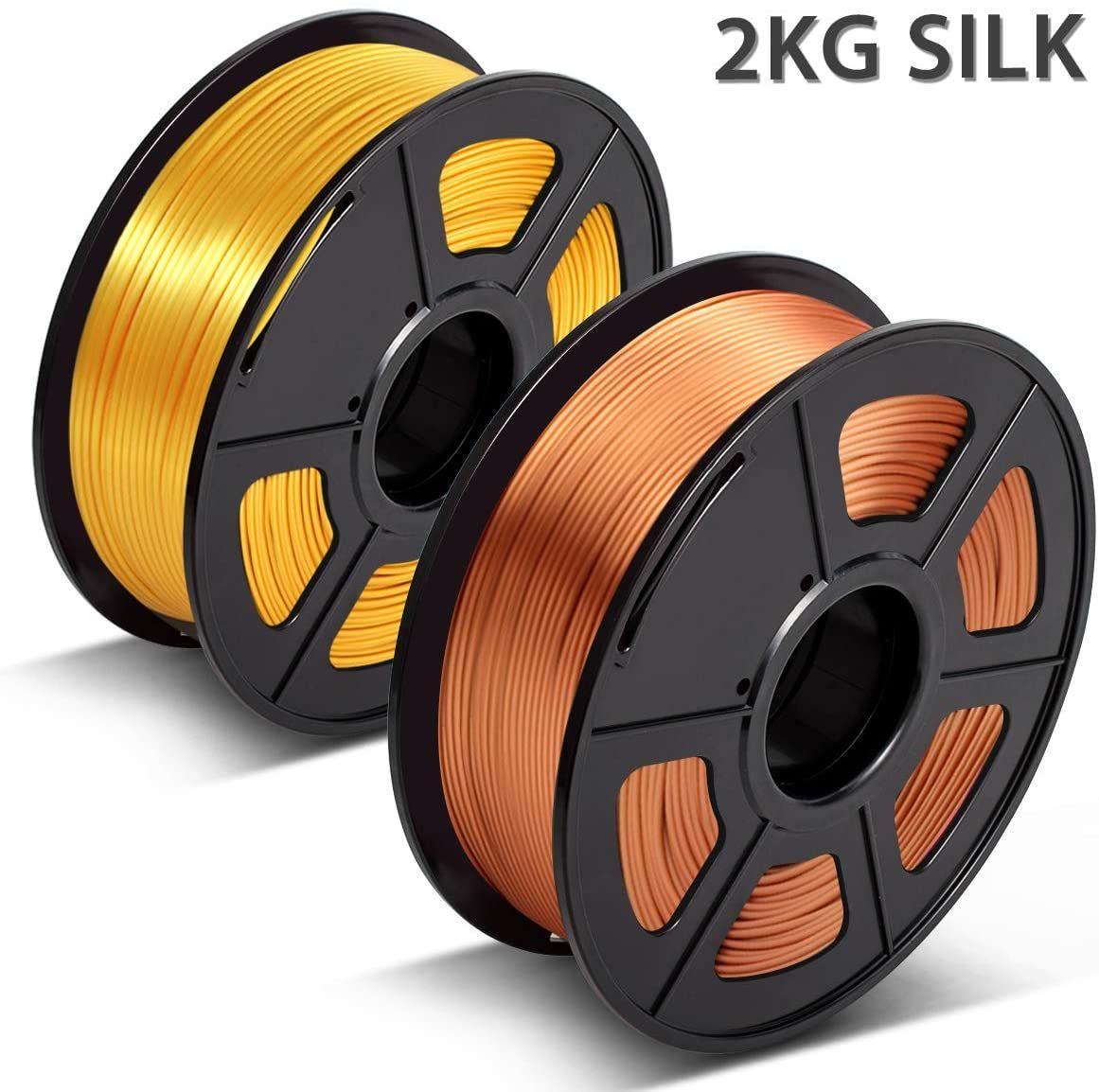 SUNLU 3D Filament 1.75 Red Copper 2KG PLA Filament 0.02mm for 3D Printer 3D Pens,Light Gold Shiny Silk PLA Filament 1.75mm