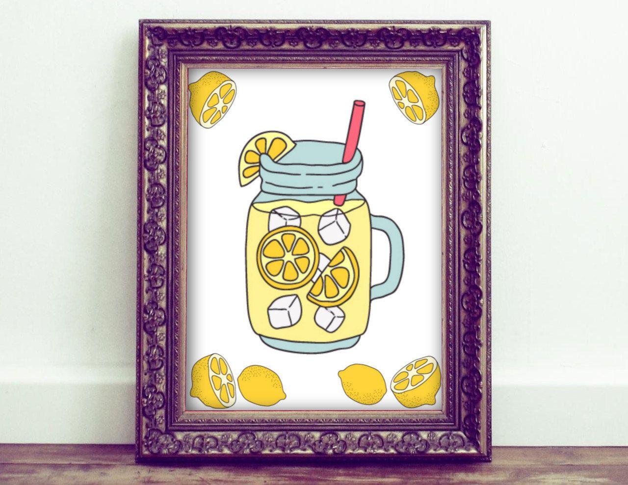 Lemonade Wall Art, Lemonade Printables. Printed Wall Art, Kawaii Art ...