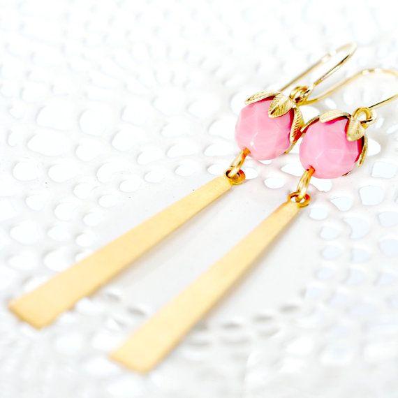 Long Brass Dangle Triangle Bar Earrings | Nest Pretty Things Shop