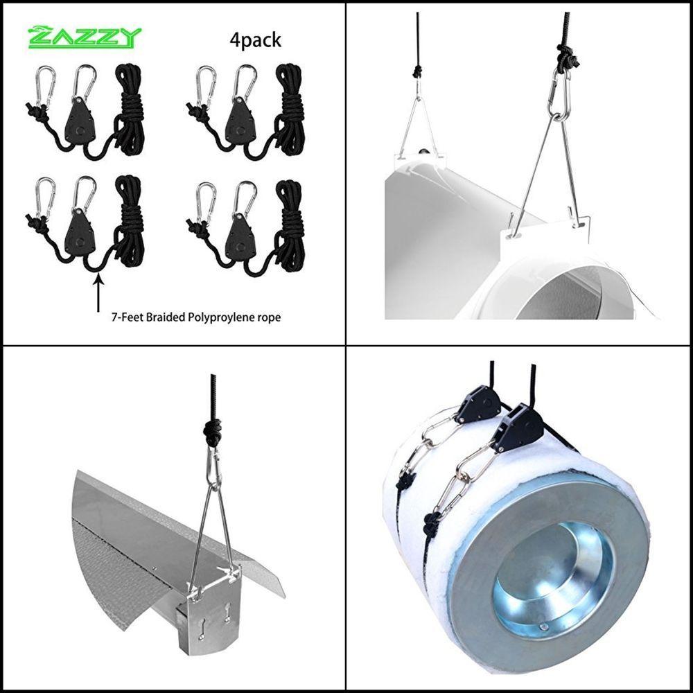 Zazzy Adjustable Grow Light Hangers Rope Clip Hanger Ratchet 1 8 Inch 2 Pairs Zazzy Light Hanger Grow Lights Hanger