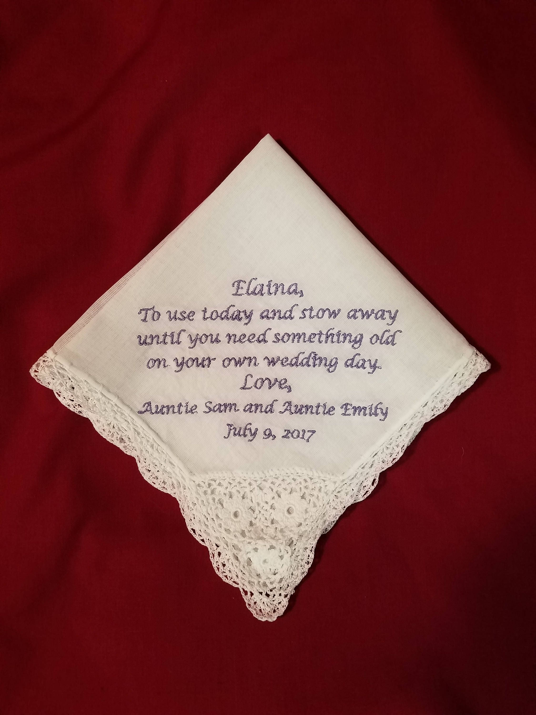 Flowe Girl gift from bride Flower Girl Wedding Gift Embroidered Wedding Handkerchief Flower Girl Flower Girl Handkerchief gift