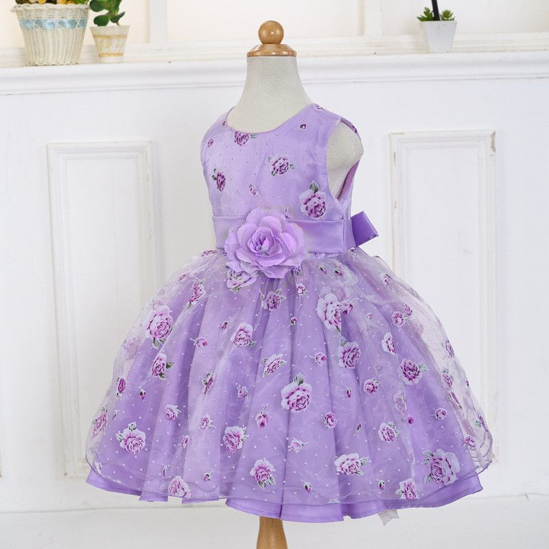 2017 Summer Princess Dress Girls Floral Print Dress New Children ...