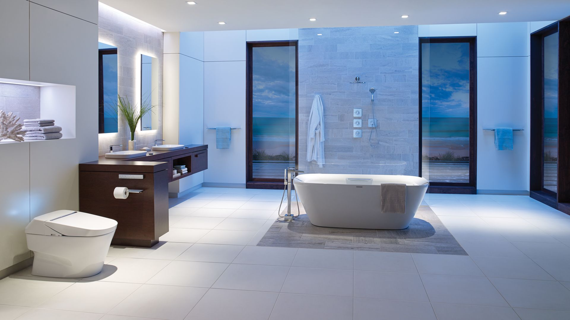 Striking bathroom by TOTO. Technology for a cleaner, healthier, more ...