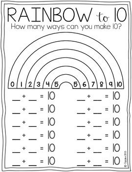 Rainbow To 10 Freebie First Grade Math 1st Grade Math Homeschool Math