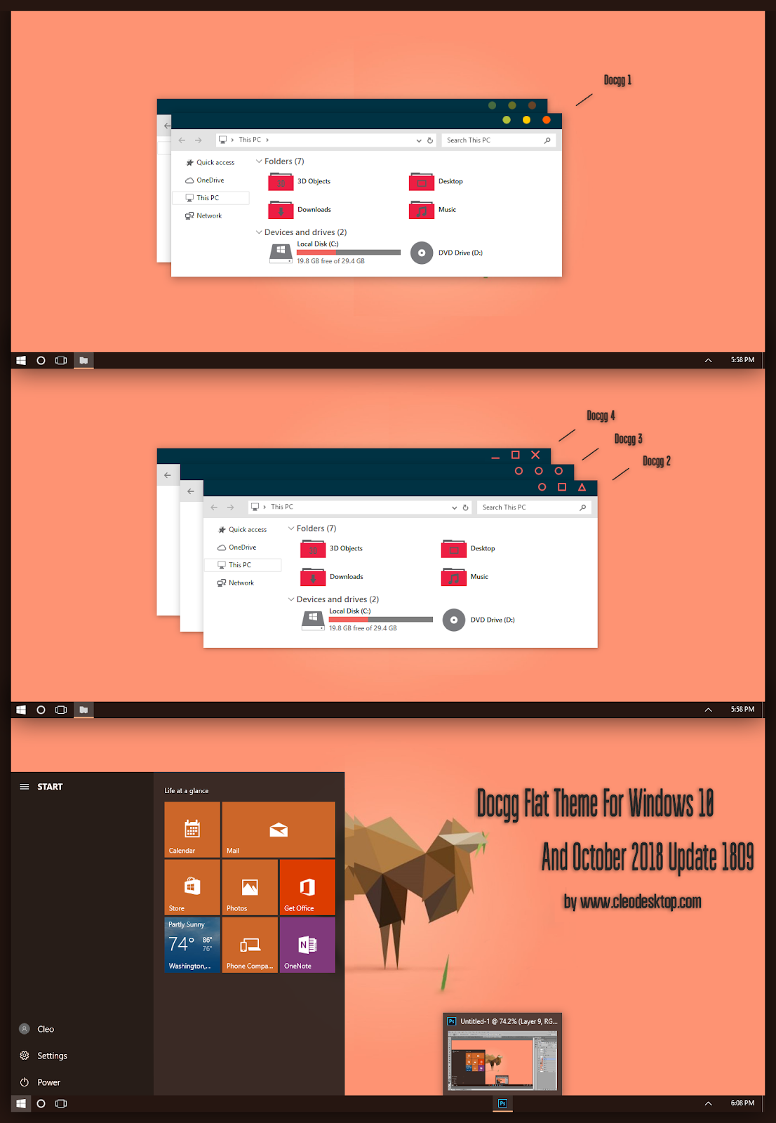 Docgg Flat Theme Windows10 October 2018 Update 1809 - Windows10