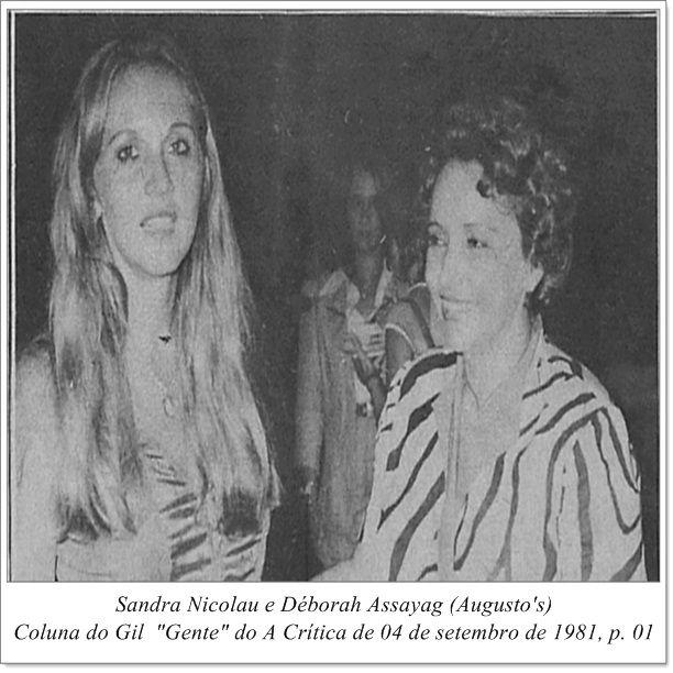 """Sandra Nicolau e Déborah Assayag. Coluna do Gil """"Gente"""" do A Crítica de 04 de setembro de 1981."""