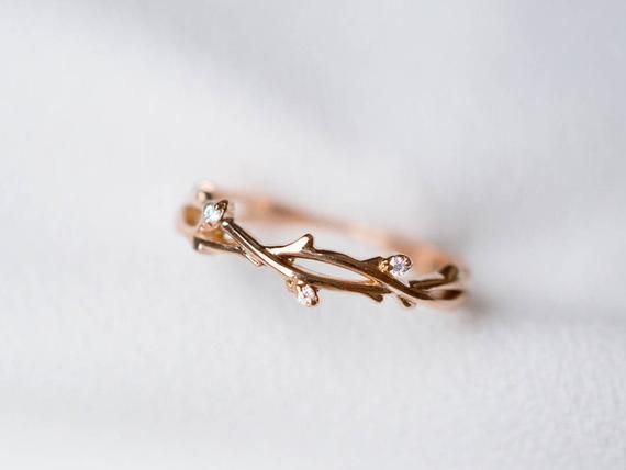 Photo of 18K 14k Gold Diamond Twig Buds Ring solid rose gold leaf wedding ring twig ivy engagement ring flower buds ring white gold platinum ring