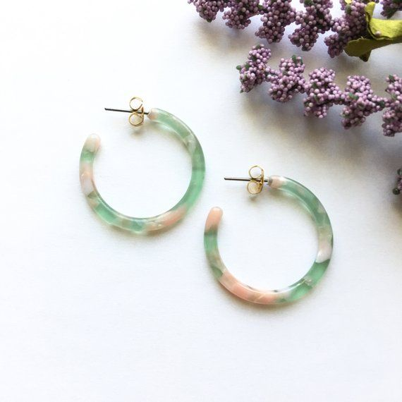 9f8ccd37e 30mm Small Green Peach Tortoise Hoop Acetate Earrings | Tortoise Shell Hoop  Earrings | Acetate Hoop Earrings | Resin Hoops | Cute Hoops T-1