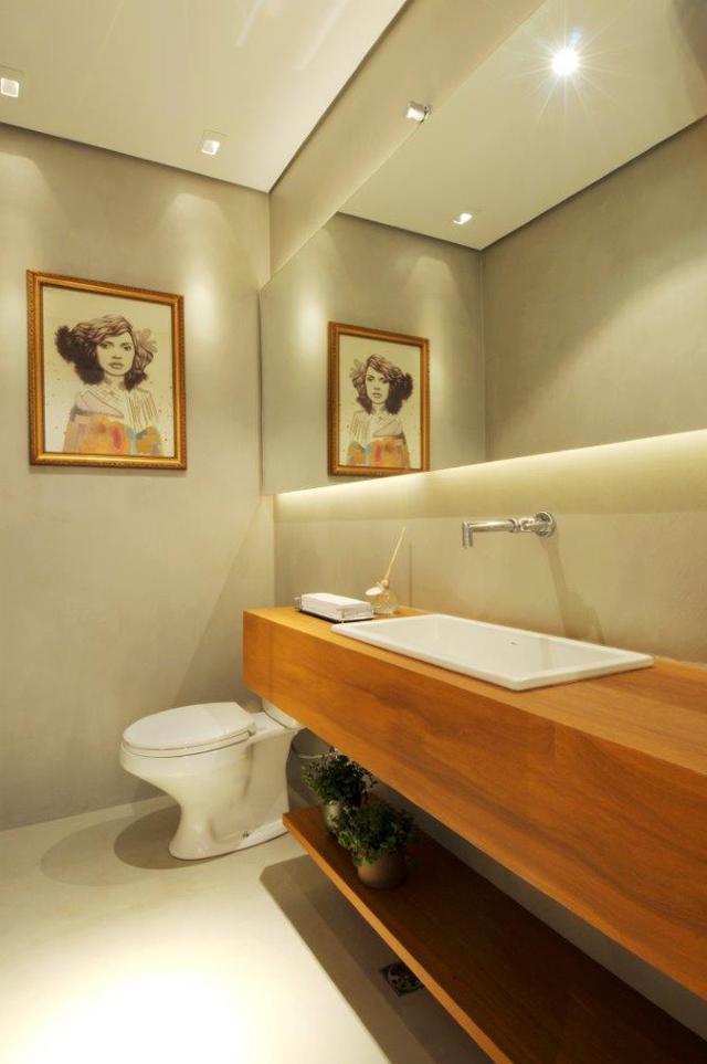 10 lavabos com bancadas de madeira veja dicas e modelos - Lavabos modernos pequenos ...