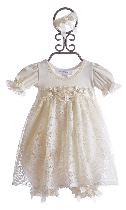 b416fbd8130d Katie Rose Ivory Lace Baby Girls Dress